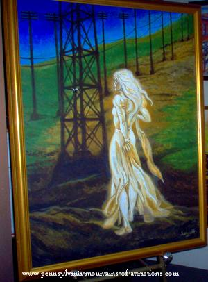 The beautiful White Lady of Wopsy Mountain, painting by Joe Servello